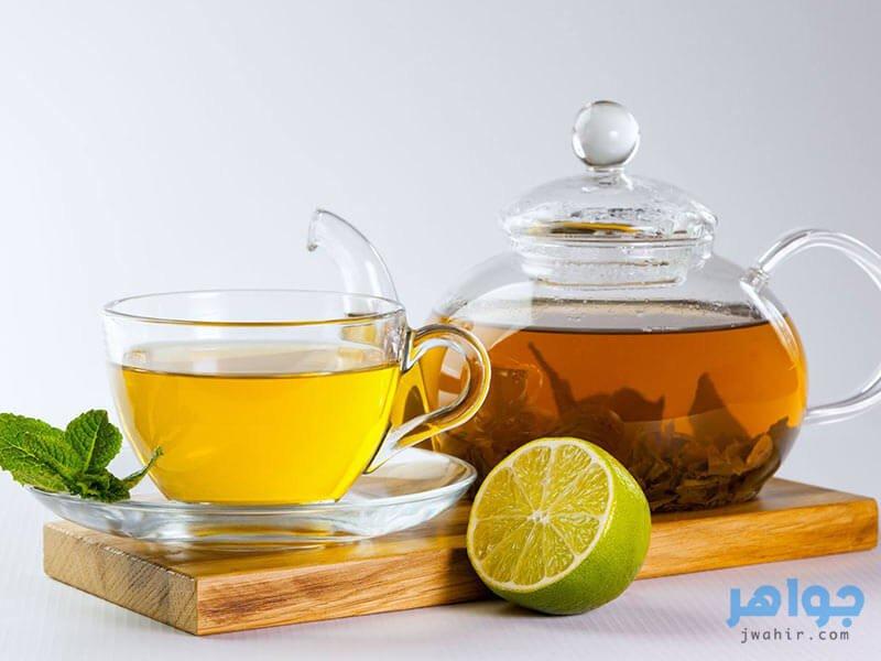 الليمون مع الشاي الاخضر