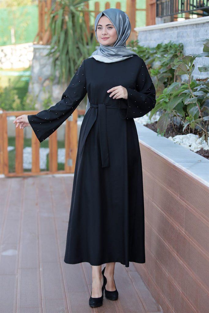 فستان تركي محجبات سواريه أسود