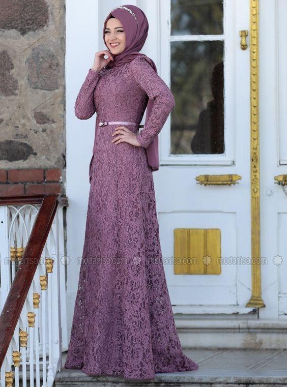 فستان محجبات سواريه دانتيل
