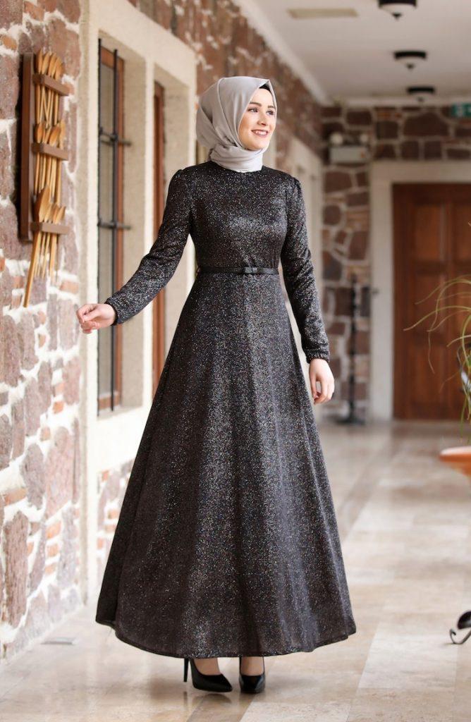 فستان سواريه محجبات فتافيت السكر أسود