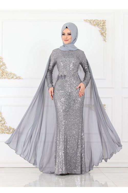 فستان سواريه رمادي فتافيت السكر