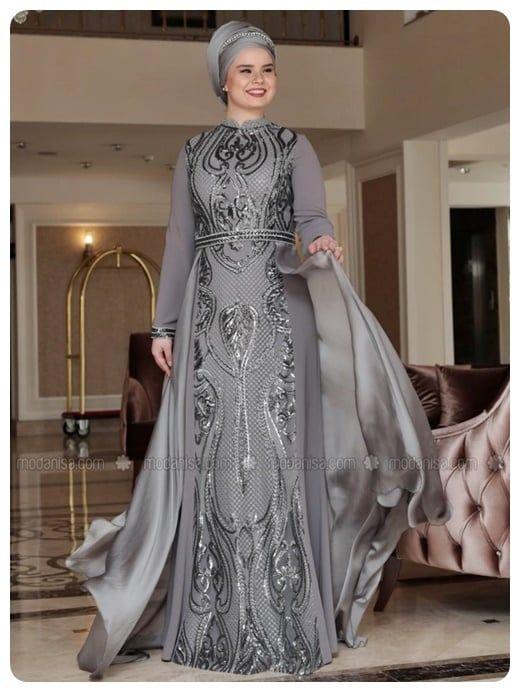 فستان محجبات سواريه لون رمادي