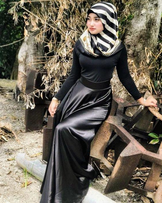 فستان سواريه ستان محجبات لون أسود